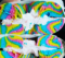 Rainbow Bagel With Cream Cheese