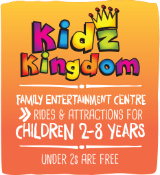 Kidz Kingdom, family entertainment centre, rides and attractions for children two to eight years, under twos are free.